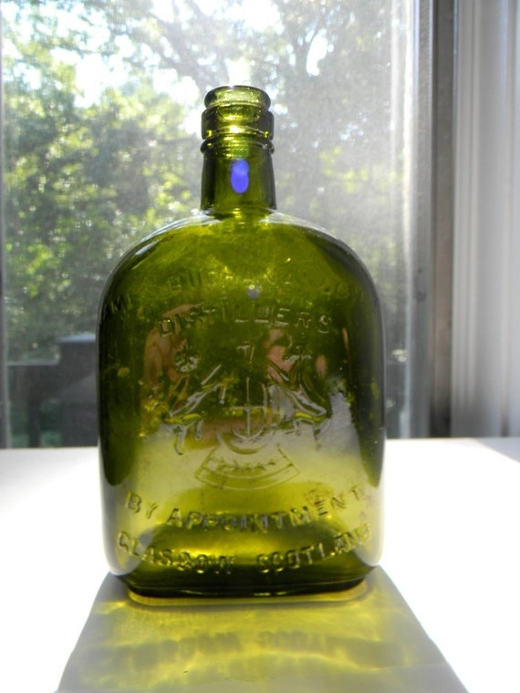 Antique Green Scottish Whiskey Bottle
