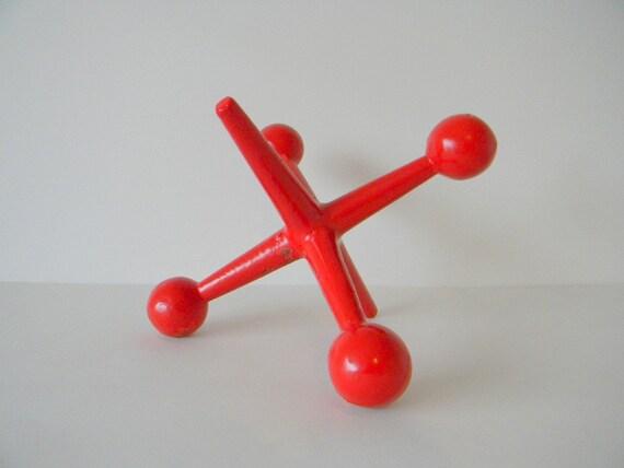 Huge Red Metal Jack Jax Sculpture