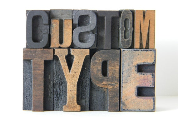 Custom Vintage Wood Type Letter Set DEPOSIT