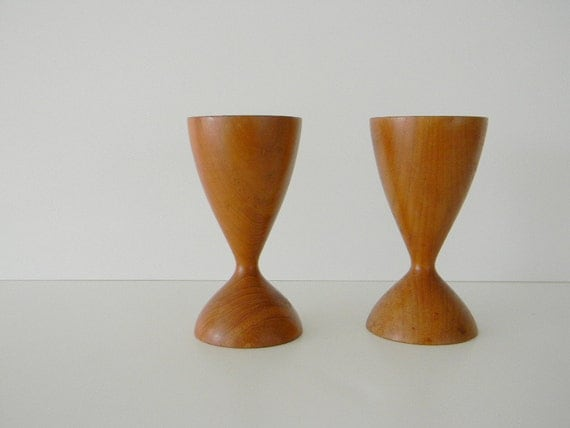 Two danish modern wood candle holders