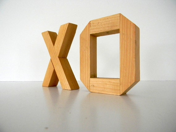 Handmade Wooden Block Letters XO Kiss and a Hug