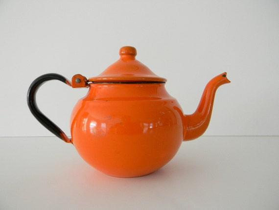 Orange enamel tea pot kettle