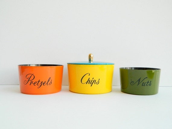 60s Colorful Lacquerware stacking or nesting snack set canisters