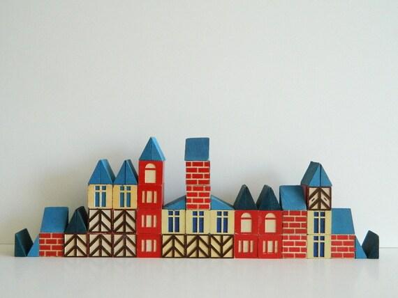 RESERVED  Vintage Scandinavian cottage style blocks