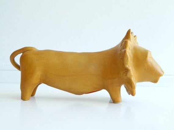 Bennington Potters Lion Bank in Mustard Yellow Glazed Ceramic