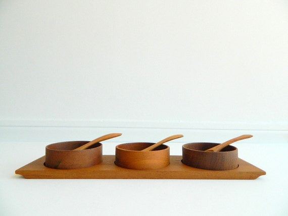 Danish modern wood condiment tray with bowls and spoons 7 piece set