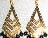 Peacock Color Enhanced Fresh Water Pearl  Earrings