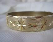 Vintage Golden Star Patterned Cuff Bracelet