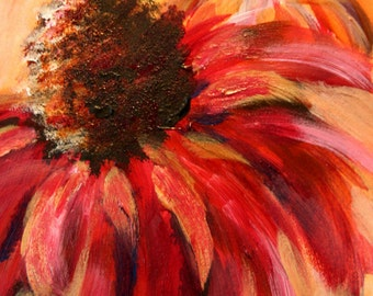 Gebera Daisy  - Original Acrylic Flower Painting - 7x5 Inches on Illustration Board
