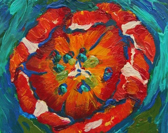 Bold Little Tulip - Original Acrylic Flower Painting 4x4 inches