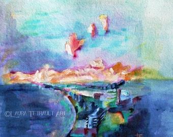 Abstract Landscape  -  Mixed Media -  Original Art 12x16 Inches