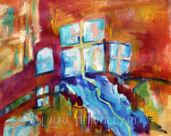 Colourful Windows - Original Painting on Watercolor paper 12x16 Inches