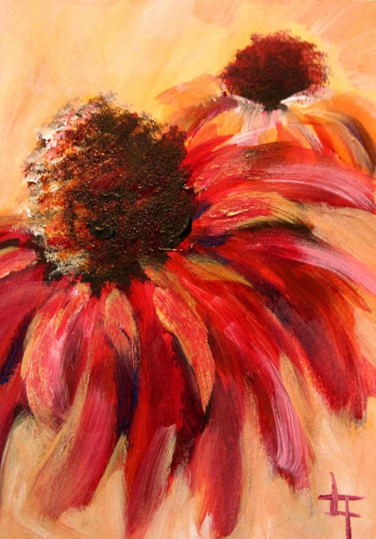 Gebera Daisy Original Acrylic Flower Painting 7x5 Inches