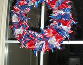 Red, White and Blue Patriotic Ribbon Wreath