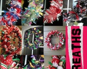 Custom Ribbon Wreath for Any Occasion or Holiday - Halloween, Christmas, Valentines, Mardi Gras, St. Patrick's Day, Birthday, Wedding, etc.