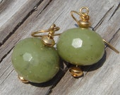 Large Faceted Olive Jade and Gold
