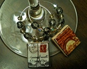 Vintage Paris Wine Charms (bead design 1) - Set of 6