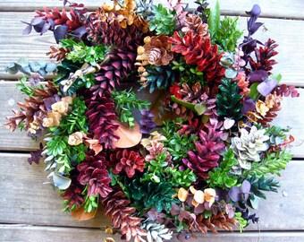 FIESTA pine cone WREATH multi-colored