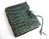 Handmade Alligator Journal- Handbound Mini Leather Diary