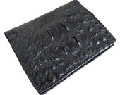 Black Alligator Card Wallet- Handmade Leather Card Case
