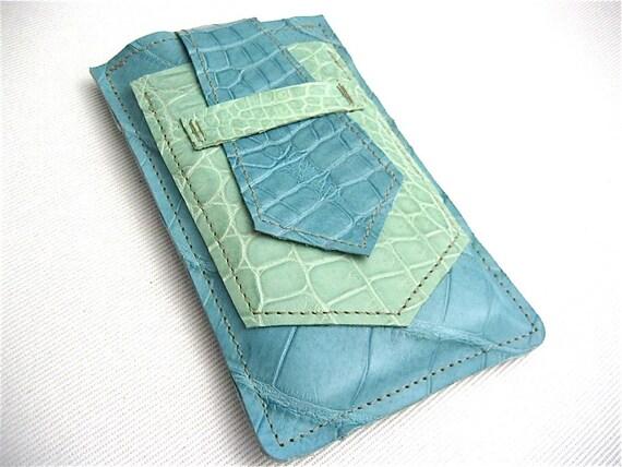 Alligator iPhone 4S Case- Handmade iPhone Sleeve- Turquoise/ Green