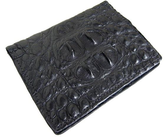 Black Alligator Card Wallet- Handmade Leather Card Case