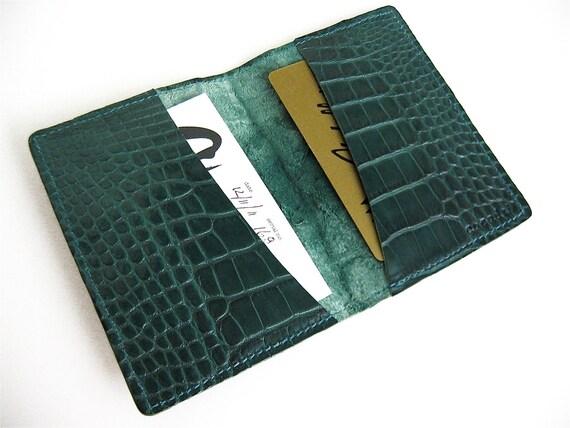 Alligator Card Wallet Handmade Green Leather Case