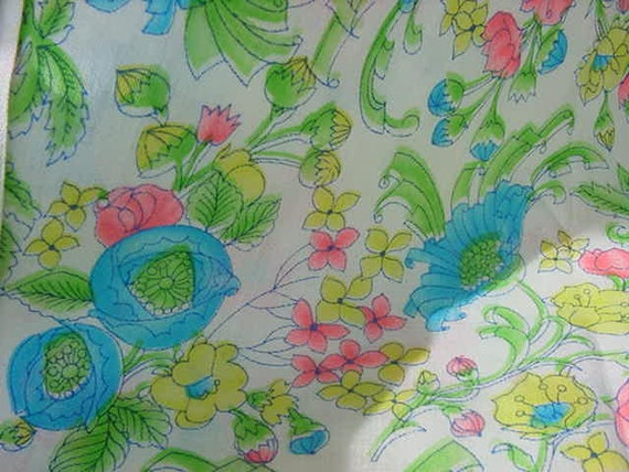Grandma's Vintage Fabric Stash Florals in Blue White Pinks Yellows Greens 3 yards