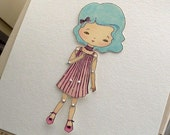 Articulated Paper Doll Print - Azure