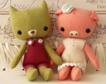 Pocket Piggy and Kitty pdf Pattern - Instant Download