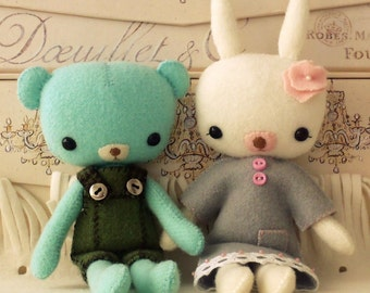 Pocket Teddy and Bunny pdf Pattern - Instant Download