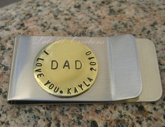 Personalized hand stamped Money clip