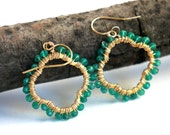 green onyx and 14Kgf wire wrapped 'lucky clover' earrings