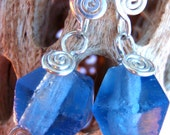 """sky blue recycled glass and recycled sterling silver """"recycled spirals"""" earrings"""