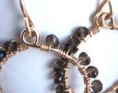 14k gold filled and smoky quartz earrings- 'dusk' earrings