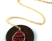 14K GF wire wrapped and ruby necklace- 'ruby pomegranate'