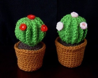 Knitted barrel cactus in crochet pot, Pincushion -INSTANT DOWNLOAD Pattern