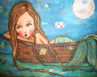 mermaid on a boat-large print from Original Mixed media painting