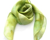 SCARF SILK, silk, square, hand dyed, pastel, Bud green, pistachio, fashion, shawl, pear, apple green, custom order