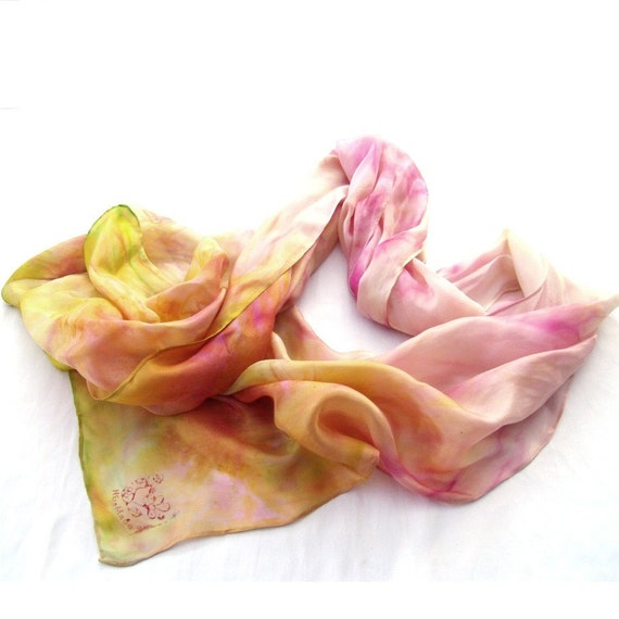 Spring - Fashion hand painted silk scarf in Pastel tone