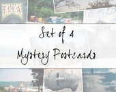 Set of 4 mystery postcards.