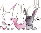 Sleepy Rabbits - horizontal A4 print