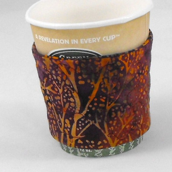 Coffee Cup Cozy Coffee Sleeve - Quilted Batik