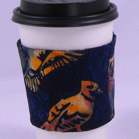 Batik Birds Quilted Coffee Cup Cozy Sleeve