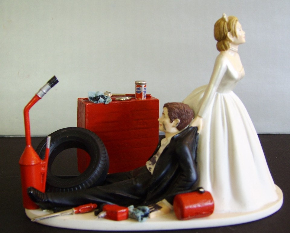 wedding cake toppers mechanic racing auto mechanic customized