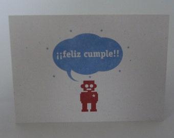 Feliz Cumple Robot / Happy Birthday Notecard Robot