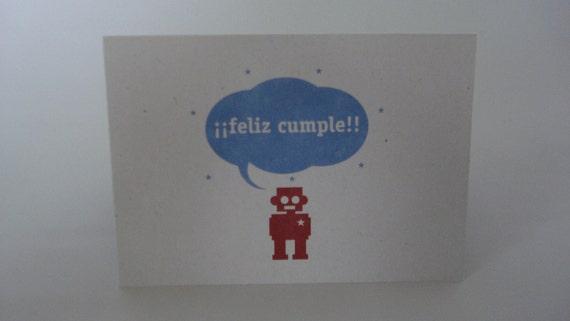 Feliz Cumple Robot Happy Birthday Notecard Greeting Card