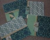 Cards, blank greeting, teal, green, gold, asian, elegant (set of 4)