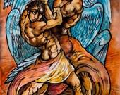 Jacob wrestles with God art print