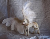 Needle felted Pegasus-- real feathers- white horse sculpture